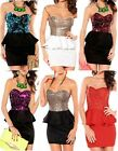 Womens Peplum Style Bodycon Sequin Mini Dress Coral Black Ladies Size8-12 Party