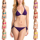 Ladies Sexy Triangle Bikini Padded Halter Top Bottom Swimwear Set S M L sw2041