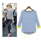 Korean Fashion Womens Striped Splice Casual Career T-shirt Pullover Tops Blouse