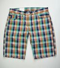 New! LEVI'S 504 Regular Fit Mens Sz Orange Green Black Plaid 100% Cotton Shorts