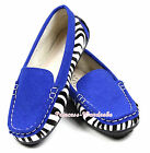 Royal Blue Zebra Edge Slip On Casual Deck Boat Shoes for Kids Girl Child SE017
