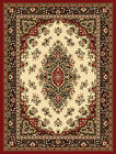 Ivory Red Oriental Medallion Carpet Bordered Floral Traditional Area Rug