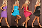 Womens Ladies Sexy CLUBBING PARTY STRAPLESS Mini Dress with G-String Thong
