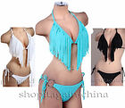 Women's Ladies Sexy Bikinis Tassels Boho Fringes Halter Top Swimwear Bathingsuit
