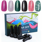Nail Art Soak Off Polish 6 Colors UV Glitter Gel Decoration Base & Top Coat Set