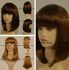 new style Short dark brown blonde Straight with slight wavy bob wig 12""