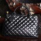 New Women's Quilted Leather Handbag Shoulder Bag Leather Tote Shopper Satchel