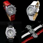 Japan Movement Crystone Mens Womens Ladies White Black Red Leather Wrist Watch