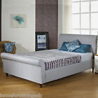 FABRIC UPHOLSTERED 4FT SMALL DOUBLE SLEIGH BED + MEMORY FOAM/ORTHO MATTRESS