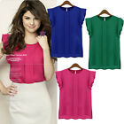 Women Round Collar Chiffon Short Tulip Sleeve pure Color Loose Tops Shirt Blouse
