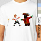 GUYBRUSH VS LECHUCK T-Shirt. Secret of Monkey Island. Pixelated Retro Rare Gamer