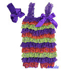 Baby Girls Purple Orange Green Lace Petti Romper Rompers Headband 2pcs NB-5Y