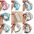 Hand-woven antique sliver tone infinity love Bracelet Wedding party gift fashion