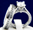 2.04 CT SOLITAIRE CZ 925 STERLING SILVER 316 L STAINLESS STEEL WEDDING RINGS SET