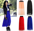 1PC Women Chiffon Skirt  Pleated Retro Long Maxi Dress M0431