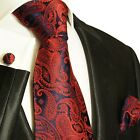464CH/ Silk Necktie Set by Paul Malone . Burgundy and Navy Paisley