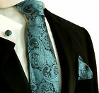 590CH/ Silk Necktie Set by Paul Malone . Turquoise and Black Paisley