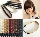 Womens Elastic Stretch Braided Plait Hair Band Synthetic Hair Extension Piece