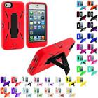 Color Hybrid Heavy Duty Hard/Soft Case Cover with Stand for Apple iPhone 5 5G
