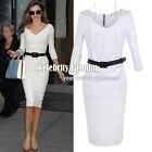 dp40 Celebrity Style Jersey Zippered V-neck Bodycon Bandage Fitted Pencil Dress