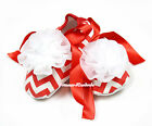 Infant Red White Wave Stripes Ribbon Baby Crib Shoes With White Rosettes NB-18M