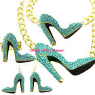 Hollywood Starlet Aqua Crystal Gold HIGH HEEL STILETTO SHOE Statement Jewelry