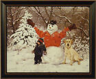 BUDDIES by Bonnie Mohr 15x19 FRAMED PRINT Snowman Boy Child Dog Lab Winter Snow