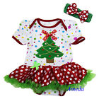 Newborn Baby Xmas Tree Colorful Dots Bodysuit Jumpsuit Pettiskirt Tutu NB-18M