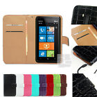 E Crocodile PU Leather Wallet Case Skin Cover Pouch w Card Slots Nokia Lumia 900