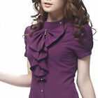 New Womens Stand Collar Ruffled Bodysuit Botton Down OL Slim Shirts Blouse