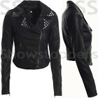 Size 8 10 12 14 16 NEW Womens BIKER JACKET Crop FAUX LEATHER Ladies STUD Coat
