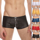 BIG SALE Cool Zipper Faux leather Shorts Sexy Mens Underwear Boxer Brief Trunks
