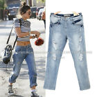 jn7N3 Celebrity Style Loose Fit Destroyed Rolled Up Ripped Boyfriend Jeans Pants