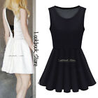 Women Plunging V Mesh Back Pleated Skirt Zip Side Sleeveless Tank Skater Dress
