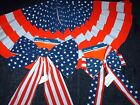 NWT Fourth of July, Memorial Day, Patriotic Stars & Stripes Flag Bows or Bunting