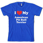 I Love My American Pitbull Terrier - Mens T-Shirt -10 Colours - Dog - Puppy