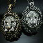 Lion Head Pendant Chain Necklace Animal Jewelry Gold Silver w Swarovski Crystal