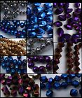 Electroplated Glass Beads. Bicone, Oval, Round. 4mm, 6mm. (BOX123)