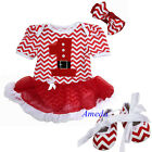 Xmas 1st Santa Baby Red Chevron Pettiskirt Bodysuit Crib Shoes Party Dress 0-18M