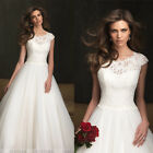 New Modest Style Custom Scoop Neck Cap Sleeve A-Line Princess Lace Wedding Dress