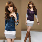 New Autumn Korean Womens Stitching Long Sleeve Casual Party Mini Dress S M L XL