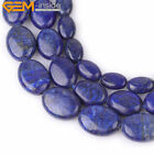 "Natural Lapis Lazuli Beads 15""  Oval Flat, Navy Blue Color Enhanced, Size Pick"