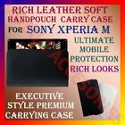 RICH LEATHER SOFT CARRY CASE for SONY XPERIA M MOBILE HANDPOUCH COVER PROTECTION