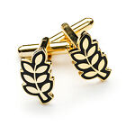 Stunning New Craft Gold Plated Masonic ACACIA LEAF Cufflinks Regalia Gift masons
