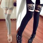 Korean Fashion Women Girl Retro Sexy Lace Splice Leggings Pants Tights 2 Colors