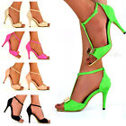 NEW Ladies T-bar Ankle Strap Peep Toe Suede Golden Bow High Heel Sandals Shoes