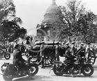 1945 FDR FUNERAL WASHINGTON DC POLICE ON HARLEY PHOTO Vintage Historical