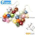 Assorted Color 5-6mm x 7-8mm Freshwater Pearl Dangle Earrings Free Shipping