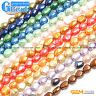 """8-9x10-11mm Colorful Freeform Cultured Pearl Stone Rice Beads Free Shipping 14"""""""