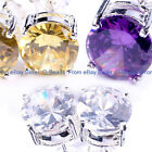 8mm  shining fashion Clear white  CZ crystal silver plated stud earring